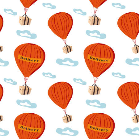 Hot air balloons with delivery boxes. Seamless pattern of shipping goods by air.