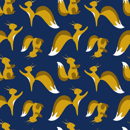 Seamless pattern with little cute squirrels. Winter background design for Christmas, new year, festive products. Best for wrapping paper, fabric, wall paper, childrens room or clothing.