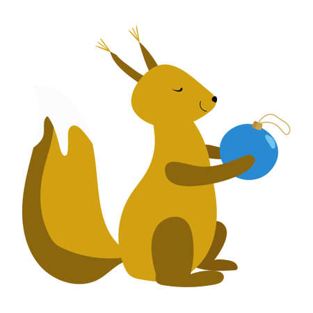 Vector illustration of cute squirrel holding a xmas ball. Festive decoration for Christmas. Festive decoration for Christmas, birthday party, for coloring print, invitation carts, postcard, prints 矢量图像