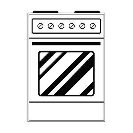 Vector electric stove in doodle style. Free standing hot plate with buttons. The device for frying, grilling, heating. Illustration on the theme of cuisine, cooking, recipes, kitchen items