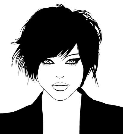 Hermosa joven modelo con el pelo estilizado  Ilustración de vector