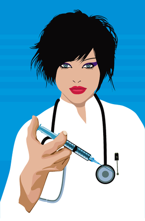 beauty surgery: Doctor with a syringe: Vector