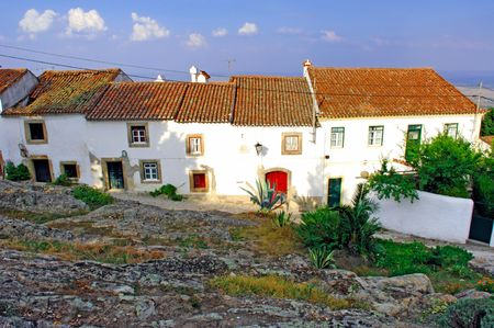 turism: Portugal, area of Alentejo, Marvao: Typical white house inside a small village; a typical image from the south