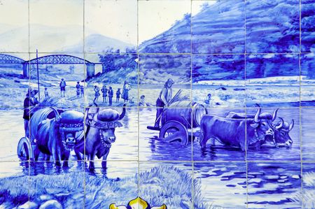 douro: Portugal, Douro valley, Pinhao: ceramics at the ancient railway station, Azulejo