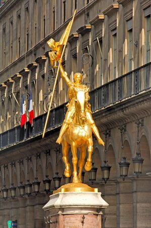 France, Paris: ancient famous monuments, Statue of Jeanne D arc; golden horse and gold amazone representing the most famous medieval french heroine Stock Photo - 2520031