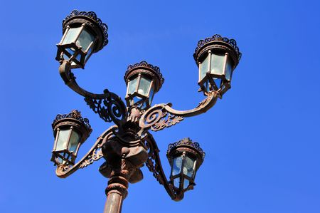 lima province: Portugal, Ponte de Lima: wonderful antic lamppost or street light  Stock Photo
