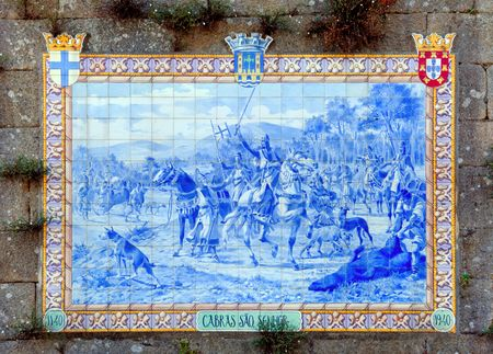 lima province: Portugal, Ponte de Lima: ancient and traditional blue ceramics Azulejos