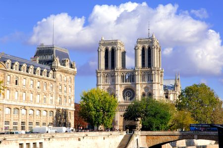 notre dame cathedral: France, Paris: Monument of Paris: Cathedral  Notre Dame de Paris  Stock Photo