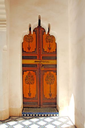 Morocco, Marrakech, Marrakesh: Bahia Palace Marrakech. Nice painting traditional door framed by white walls