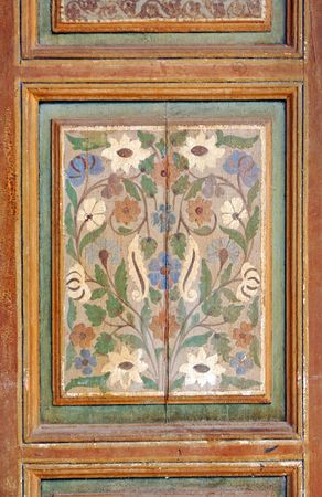 Morocco, Marrakech, Marrakesh: Bahia Palace, architectural detail; detail of a painting traditional door