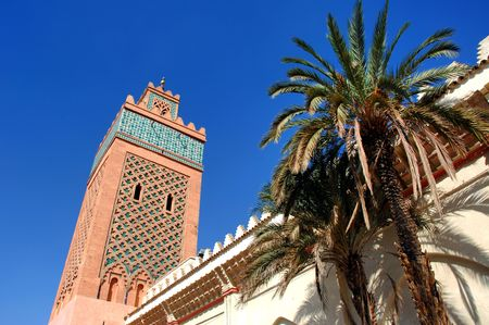 marrakesh: Morocco, Marrakech, Marrakesh: Koutoubia, blue sky and the famous minaret of the ancient mosque