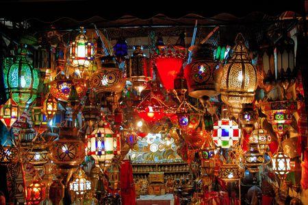 marrakesh: Il Marocco, Marrakech, Marrakesh: Vecchia lampada araba, vista piacevole delle lampade arabe tradizionali durante la notte