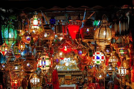 Morocco, Marrakech, Marrakesh: Old Arab lamp, nice view of the traditional arab lamps during the night