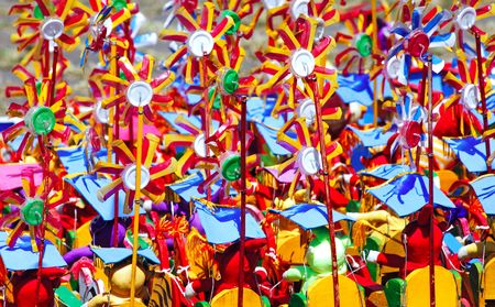 Indonesia, Java: a thousand of colorful windmills Stock Photo - 2592457