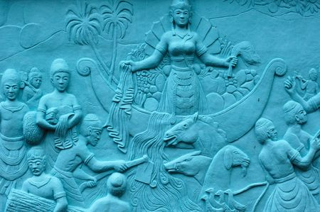 legends: Indonesia, Java: Frescoes in bas relief in blue; carved and painting images related with indonesian sea  legends Stock Photo