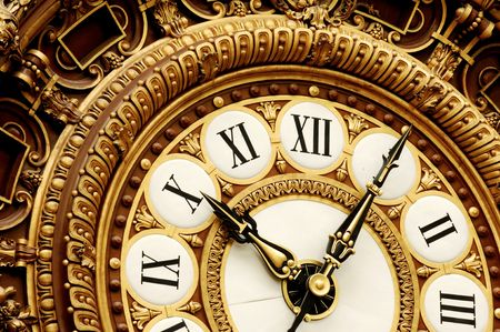 France, Paris: nice golden clock at the famous french orsay museum in paris photo