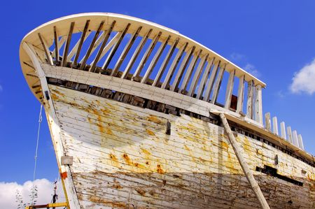 whaling: Portugal, area of Algarve, Sagres:  Whaling bark, blue sky and an abandoned bark