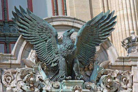 garnier: France, paris: Statue of Opera Garnier, eagle  in the front door of the palace