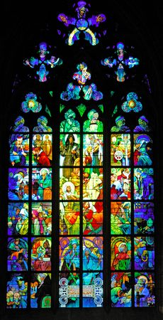 polychrome: Czech Republic, Prague: stained glass of St Vitus cathedral; polychrome holy figures; indoor representation