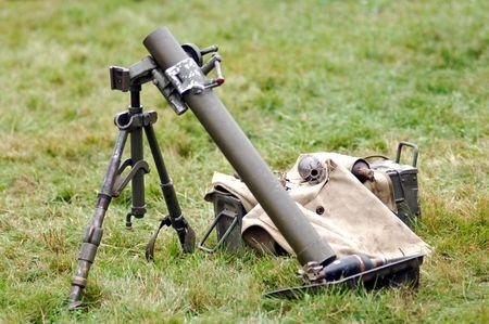 pontoise: France, Pontoise; World war II mortar ; demonstration at the tarmac Stock Photo
