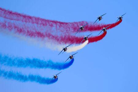 pontoise: France, Pontoise :  blue sky and the Patrouille de France during flight