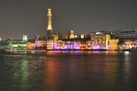 bur dubai: United Arab Emirates:view of Bur Dubai and the creek from deira; the old city   Stock Photo