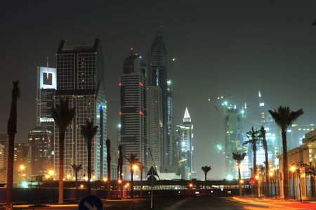 United Arab Emirates: Dubai skyline at night nice view of the city from the creek , district of deira Stock Photo