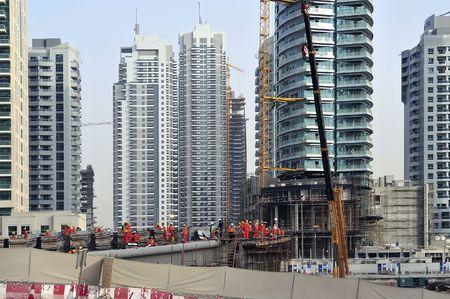 sheik: United Arab Emirates: Dubai skyline with the new constructions at sheik zayed road