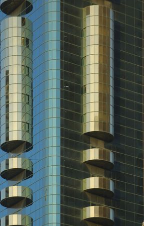 buiding: United Arab Emirates: Dubai  detail of a modern buiding; metal structures and glace