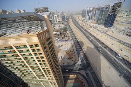 sheik: United Arab Emirates: Dubai skyline of sheik zayed road; the business district of dubai