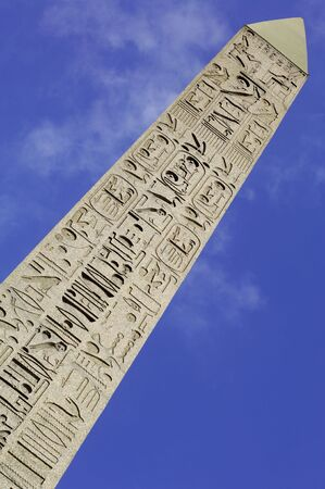 concorde: France; Paris;  detail of  the carved egyptian obelisk at the concorde square; one of the most famous squares in paris; hieroglyphics representation Stock Photo
