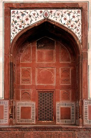 love dome: India, Agra: Taj Mahal; view of one lateral door of the mosque Stock Photo
