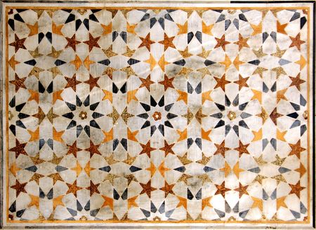 mughal: india, agra: taj mahal; wall decoration; geometrical design for this colored marble mosaic  on the taj walls Stock Photo