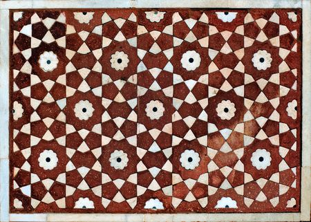 mughal: India, Agra: Taj Mahal mosque decoration; red stone and white marble for this mosaic decorating one of the mosque walls Stock Photo