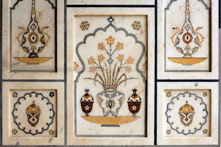 mughal: India, Agra: Taj Mahal; detail of the walls decoration; symetrical colored stone mosaic