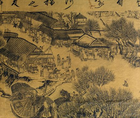 chinese painting: Antique Chinese Silk Painting in the style of the song and yuan dynasties; nature, landscapes and countryside landscapes with hills; mountains; rivers and peaceful scenes  are the subjects of these brush dipped black colored ink; generaly the materials us