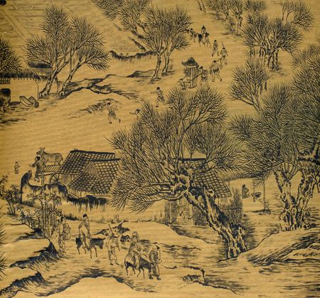 dipped: Antique chinese silk painting in the style of the song and yuan dynasties; nature, landscapes and countryside landscapes with hills; mountains; rivers and peaceful scenes  are the subjects of these brush dipped black colored ink; generaly the materials us