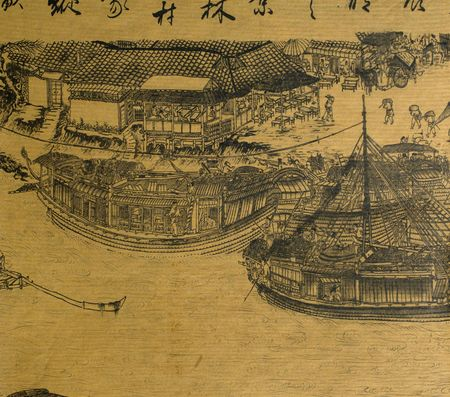 ancient tradition: Antique chinese silk painting in the style of the song and yuan dynasties; nature, landscapes and countryside landscapes with hills; mountains; rivers and peaceful scenes  are the subjects of these brush dipped black colored ink; generaly the materials us