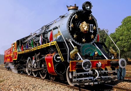 steam engine: India : one of the oldest running locomotive in the world; this is a steam powered machine; a railway machine Stock Photo