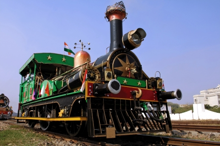 India : one of the oldest running locomotive in the world; this is a steam powered machine; a railway machine Stock Photo