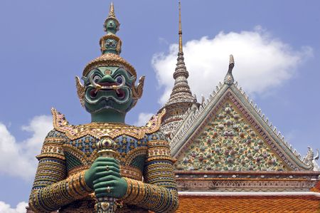 Thailand, Bangkok: Grand palace; statue of a demon, the famous thai name of the ten headed demon king; a mythological figure of the indian  epic ramayana photo