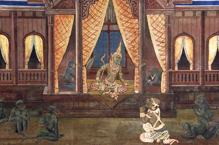 Thailand, Bangkok: Grand palace wall painting; historical and religious representation with natural colors and gold leaf;  photo
