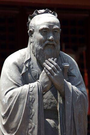representations: China, Shanghai: Confucius temple; stone statue of confucius ; representation in a realistic way  Stock Photo
