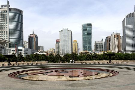 China; shangai;  view of the modern district from the peoples  square in front of the shangai theatre Stock Photo