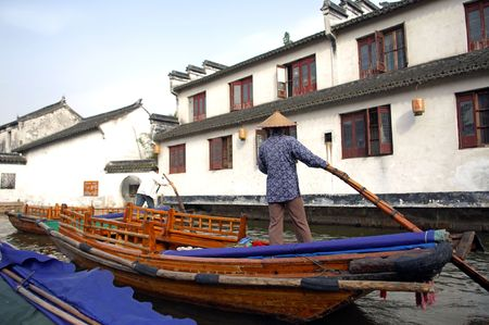 zhouzhuang: China, Zhouzhuang: Water village;  the venice of the east situated in the jiangsu provincei is a popular tourist destination with watery views and residential houses