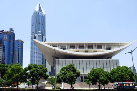 China, Shanghai; the new theatre building; an example of the new architecture developped during the last few years