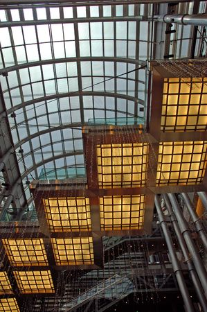 modernity: China, Shanghai: Interior of Jinmao tower; between tradition and modernity