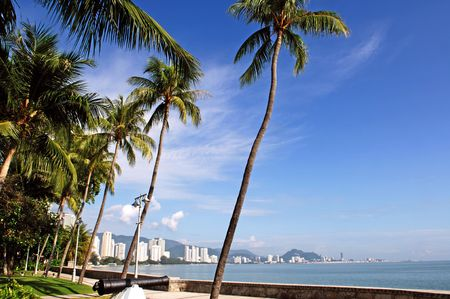 Malaysia, Penang: City view; a heavenly view with blue sky and sandy beachs outline by coconut trees