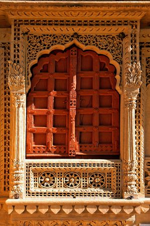 India, Rajasthan, Jaisalmer: Jain Temple; carved frame to a typical window