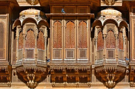 noted: India, Rajasthan, Jaisalmer: patwa aveli ; this aveli is famous for his intricate stone carved balconies; generally havelis are noted for their fantastic frescoes Stock Photo